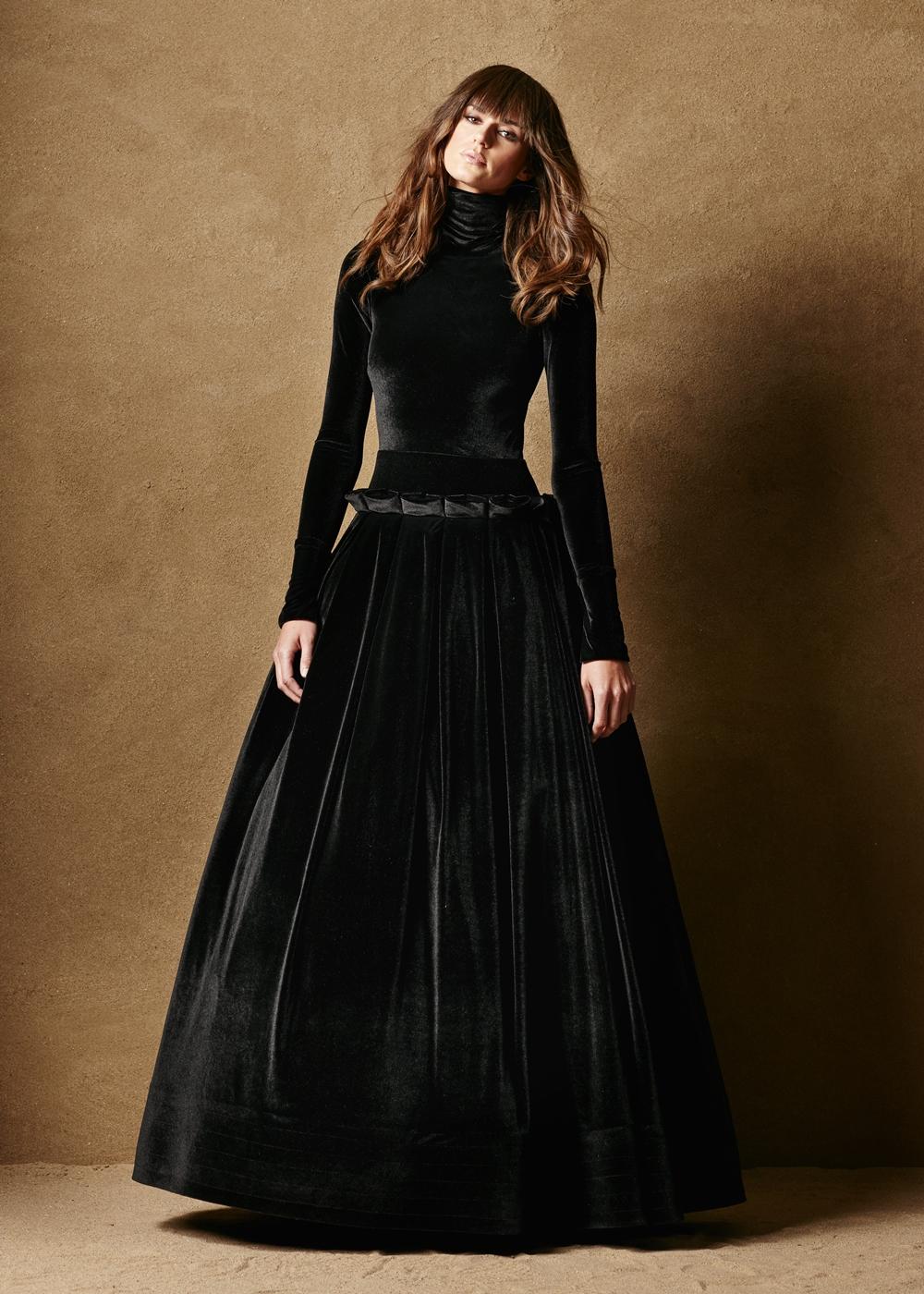 Stretch Velvet Drop Waist Gown 1