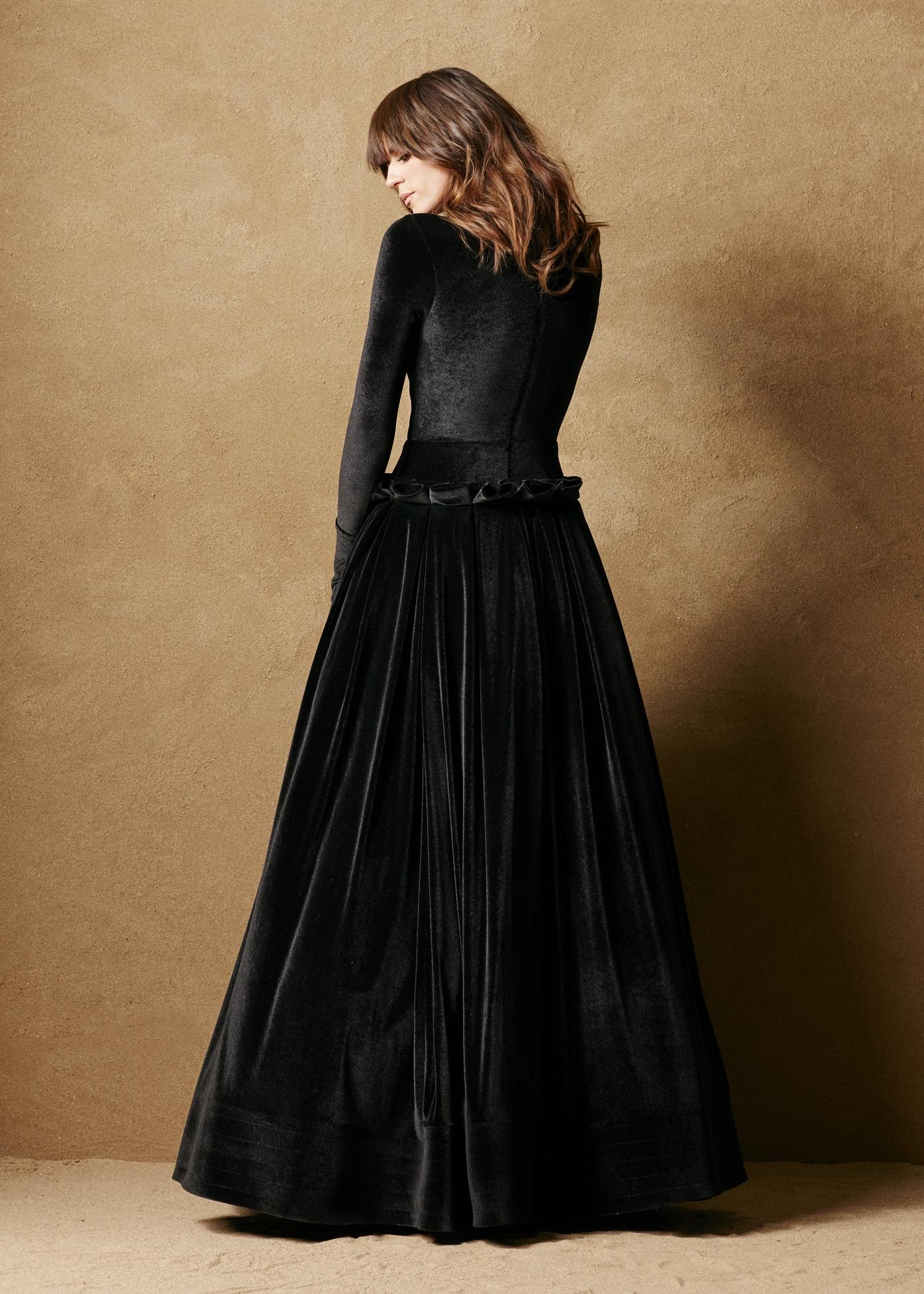 Stretch Velvet Drop Waist Gown 2