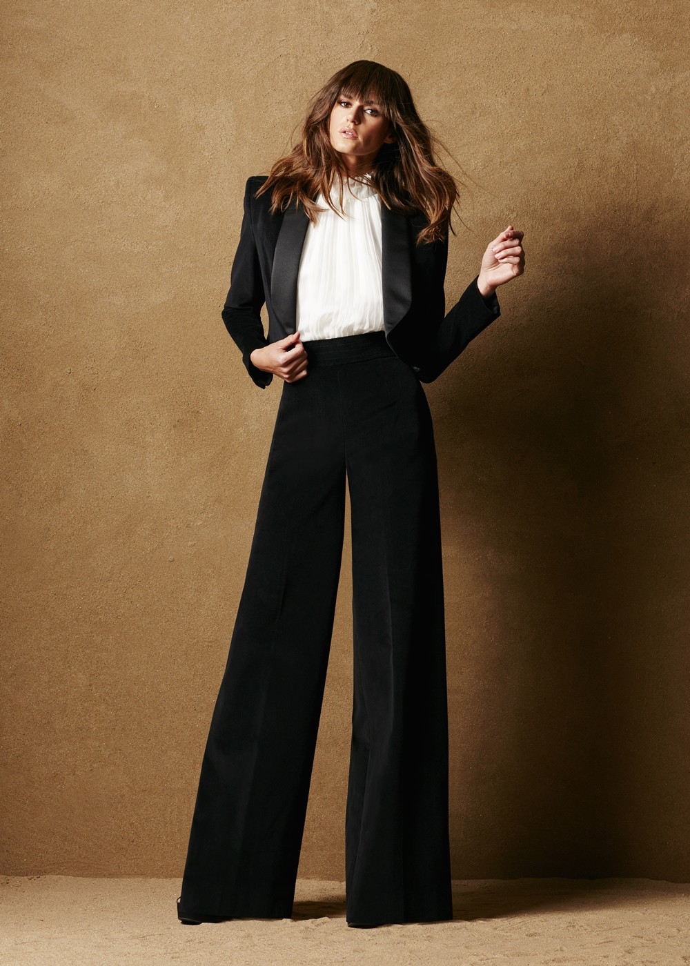Cotton Velvet Wide Leg Pants - Caroline Hayden
