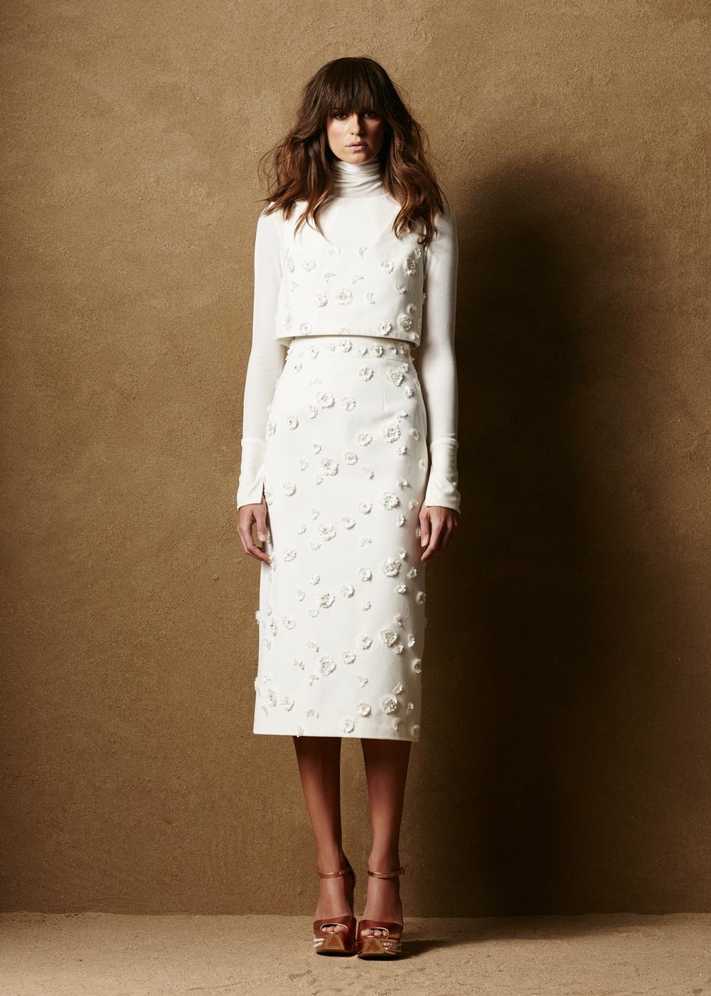 Cotton Velvet Pencil Skirt w/Appliques 1